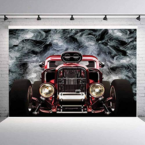 7x7FT Vinyl Backdrop Photographer,Classic Car,Cool Vintage Vehicle Background for Baby Shower Bridal Wedding Studio Photography Pictures