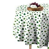 Fabric Textile Products Round Tablecloth, 100% Milliken Polyester, Machine Washable, 60' Round, Tossed Shamrocks White