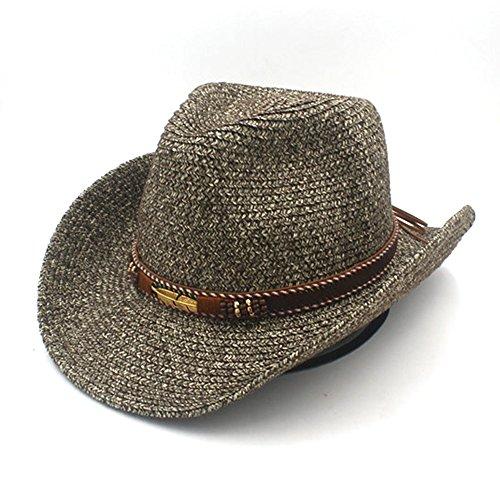 Mode Hoeden, Elegante hoeden, Natuurlijke Caps Hoed Zomer Rietje Vrouwen Mannen Holle Westerse Cowboy Hoed Met Mode Leer