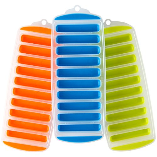 """Lily's Home Silicone Narrow Ice Stick Cube Trays with Easy Push and Pop Out Material, Ideal for Sports and Water Bottles, Assorted Bright Colors (11"""" x 4 1/2"""" x 1"""", Set of 3)"""