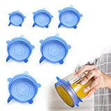 Tapadera Flexible Extensible, 6 Pcs Tapas Universales de Silicona, Tapaderas Elásticas Reutilizables Ecológicas, Tapas Silicona de Alimentos Comida Proteger Los Para Cuencos, Tazas, Vasos, Latas, Azul