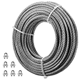 VEVOR Galvanized Steel Cable, 5/16'' Aircraft Cable, 100ft Galvanized Cable 7x19 Construction Steel Wire Cable w/Cable Clamps, 9900lb Breaking Strength for Railing Decking, Lifting, Hanging, Fencing
