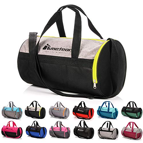 Bolsa Deporte Viaje Gimnasio con Compartimento Separado para Zapatos Duffle Bag para Hombre Mujer Ultraligera Plegable Bolsa Deportiva 25 L Yoga Bolsa Fin de Semana (Gris Melange/Verde neón, 25 L)