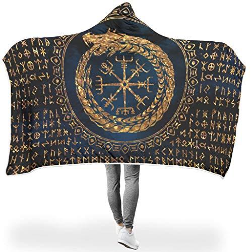 Manta suave con capucha, dorada, septentrional, vikingo, vegana, runas Ouroboros, Futhark, impresión calentita, invierno, Sherpa, forro polar, mágica, manta, sofá, dormitorio, blanco, 150 x 200cm