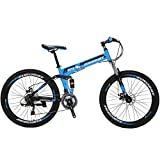 "Eurobike 26"" Full Suspension Mountain Bike 21 Speed Folding Bicycle Men or Women MTB (Blue)"