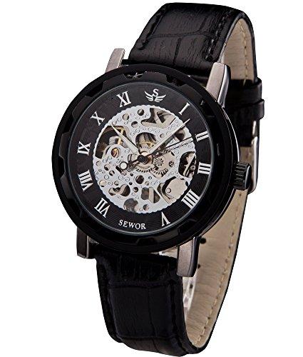 SEWOR Herren Hohl Skelett Carving Mechanische Hand Wind-Armbanduhr mit schwarz Leder (Black)