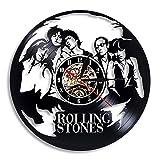 LKJHGU Disco de Vinilo Reloj de Pared diseño Moderno Rolling Stone Rock Band Reloj de música Reloj de Pared Sala de Estar Dormitorio decoración Regalo
