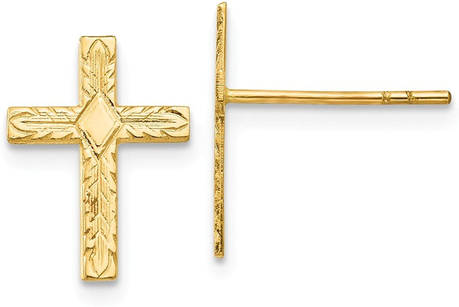 Beautiful Yellow gold 14K Yellowgold 14k Polished & Textured Cross Earrings
