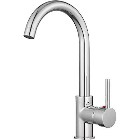 Kitchen Sink Mixer Tap Monobloc 360 Degree Swivel Spout Single Lever Kitchen Taps Chrome with UK Standard Fittings