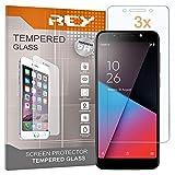REY 3X Protector de Pantalla para VODAFONE Smart N9 Lite, Cristal Vidrio Templado Premium