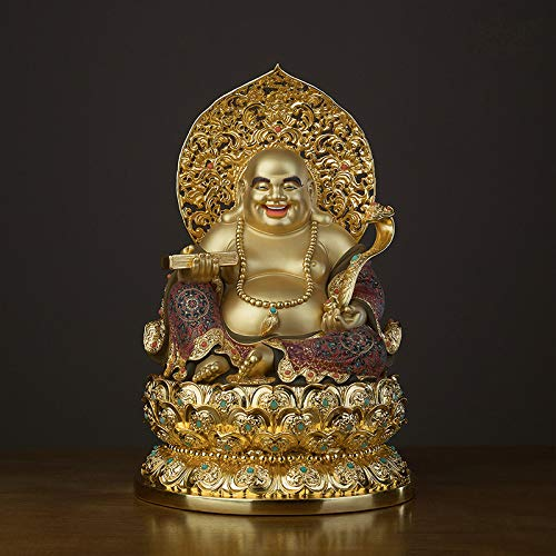 """15.74 """"Fengshui Buddha Statuen für Glück & Glück, lachende Buddha Figuren Skulpturen mit Geldbeutel God of Wealth Statue Wohnkultur, vergoldete Einweihungsfeier Glückwunschgeschenke"""