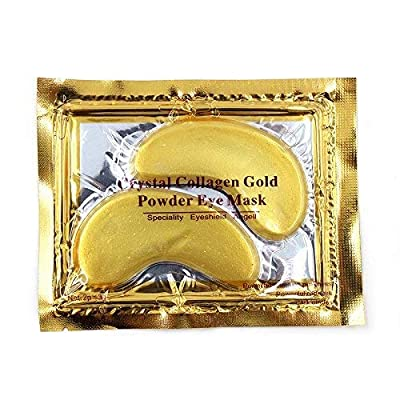 Cascove 10 Pairs Of Crystal Collagen Eye Mask Reduce Eye Wrinkles Bags & Dark Circles Under Eye Tired Anti Ageing Eyelid Moisture Pad Pads Patch Patches Crystal Face Gold/white