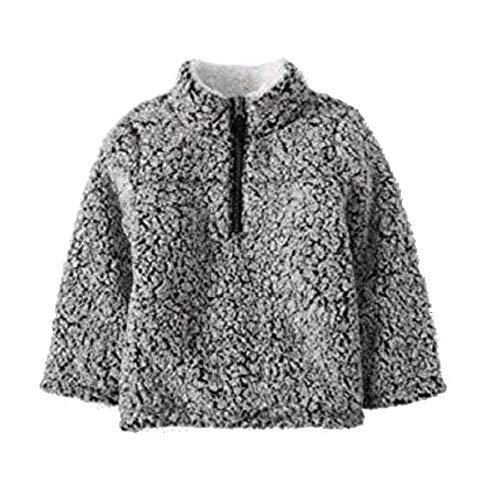 Wonder Nation Baby Boys Quarter Zip Super Soft Sherpa Pullover (4T, Black Soot)