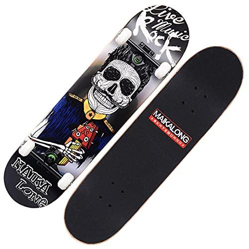 VOMI Tabla Skate 31'x8' Skateboard Cóncava con 4 Ruedas de PU 100A, Monopatines Completa 7 Capas de Madera de Arce, Patineta Creativo para Principiantes, Niños, Adolescentes y Adultos,Rock