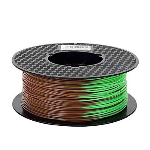3D-Druckerfilament-PLA-Ändern der Farbe mit Temperatur 3D-Druck-Sublimationsmaterial 1,75mm 1kg / 500g / 250g lila zu rosa (Color : Brown to green 250g)