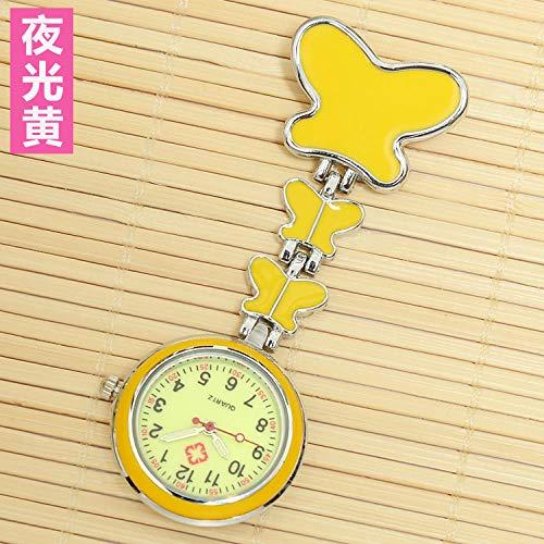 Cxypeng Uhren,Krankenschwester FOB-Uhr,Schmetterling wasserdicht leuchtende Krankenschwestertisch Brust Uhr hängende Uhr Taschenuhr medizinisch-gelb,Krankenschwesteruhr/Pulsuhr