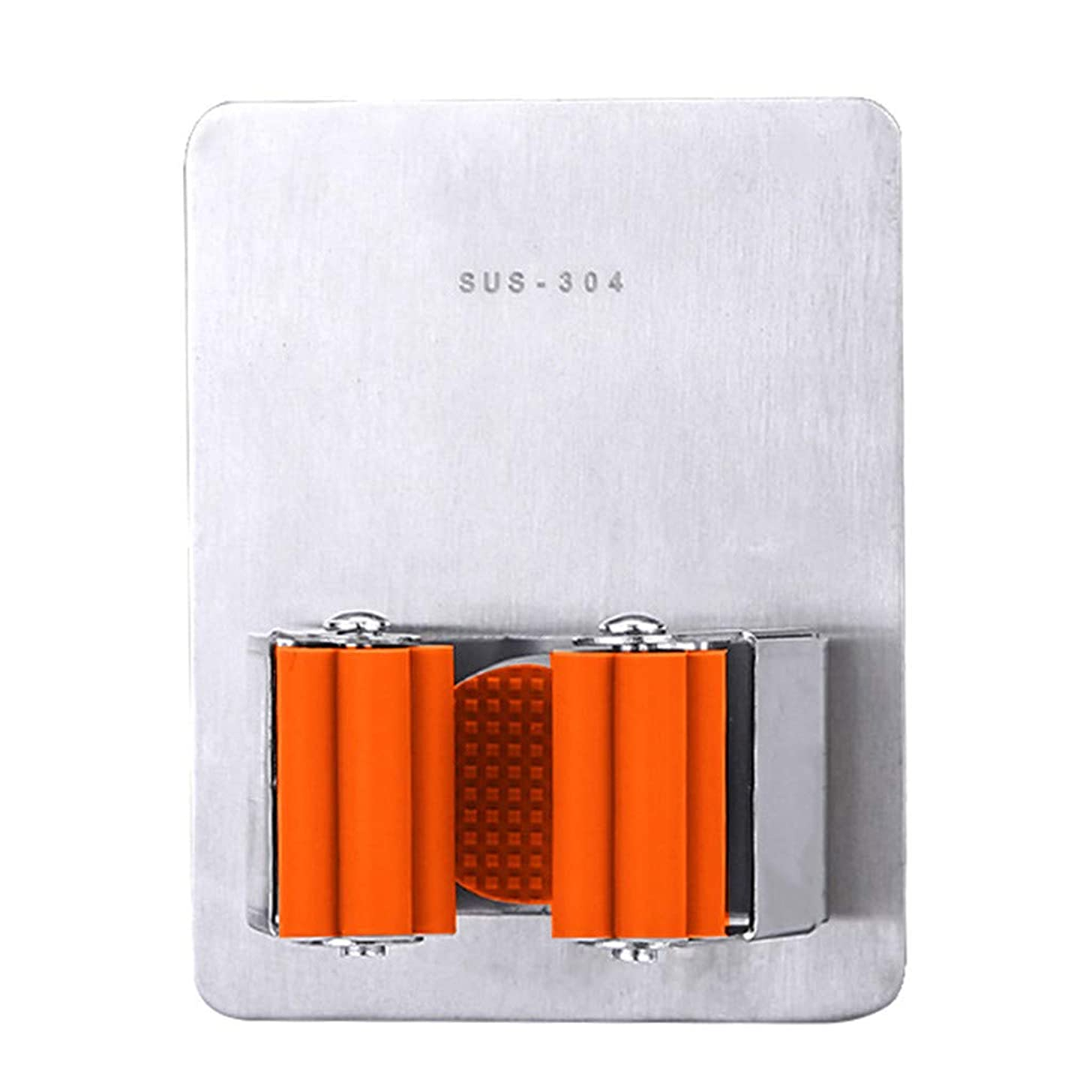 Wall Mounted Broom Mop Holder Adhesive Stainless Steel Mop and Broom Holder Organizer Brush Broom Hanger Wall Mount Utility Rack for Mops and Brooms 1PC (Orange)
