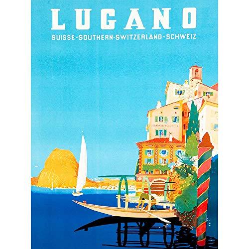 Wee Blue Coo Vintage Travel Switzerland Buzzi Lugano Suisse Art Print Poster Wall Decor 12X16 inch Vintage ▾ Viaggio Svizzera Manifesto Parete