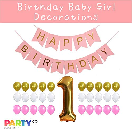 PARTY First Birthday 1st Birthday Baby Girl Decorations Gold Number One Balloon Gold Pink White Balloons Set 32 Pieces
