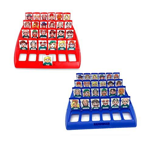 Amasawa Wer ist es Lustiges Ratespiel Brettspiel Eltern Kind Interaktives Spielzeug Logische Argumentation Desktop Freizeit Spiel Frühkindliche Lernspiel, Family Erraten Spiele, (Rot und Blau)