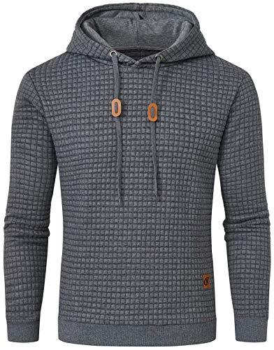 Mens Hoodies Casual Midweight Long Sleeve Sweatshirt Dark Grey Medium