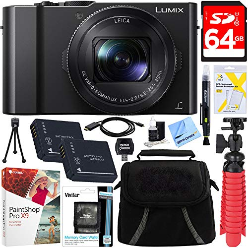 Panasonic LUMIX LX10 20.1MP Leica DC Optical Zoom Digital Camera + 64GB Class 10 UHS-1 SDXC Memory Card + Two Pack BLH7 Battery + Accessory Bundle