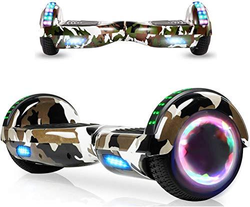 HappyBoard Hover Board 6.5 pulgadas Bluetooth Potencia 700 W con dos barras LED giropod autoequilibrado de buena calidad para niños y adultos, color verde camuflaje