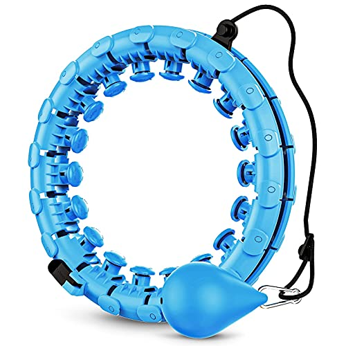 GOBEES Weighted Fitness Hoop for Adults, Smart Exercise Hoop for Women Weight Loss, 2 in 1 Adjustable Circular Massage with 24 Detachable Knots Fitness Equipment (Blue)