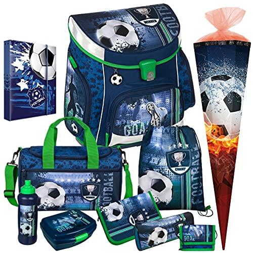 FOOTBALL CUP - Fußball - Scooli CAMPUS UP Schulranzen-Set 10tlg. mit SPORTTASCHE, BROTDOSE, TRINKFLASCHE und SCHULTÜTE - HEFTBOX A4 GRATIS DAZU