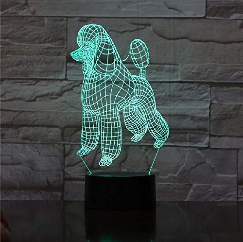 Kawaii Pet Animale Perro 3D Lámpara Ilusión Luz de Noche Bombilla LED Multicolor Regalos para Niños Novia Kid Juguete Mesa