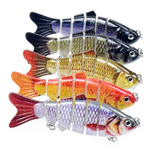 Lixada Fishing Lure Set 5PCS Multi Jointed Segment Swimbait Lifelike Hard Bait Crankbait Treble Hooks 3D Eyes Popper Crankbait Vibe Sinking Lure for Bass Trout Perch