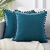 Topfinel Juego 2 Hogar cojín Terciopelo Decorativa Almohadas Fundas con Pelota de Color sólido para Sala de Estar sofás 45x45cm Azul