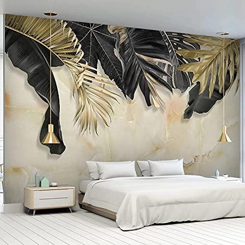 Fototapet 3D Svart Guldblad Marmor Textur Väggmålningar Vardagsrum Tv Soffa Sovrum Bakgrundsväggar Wallpaper Diy Väggkonst Mural 400(Bredd) X280(Hög) Cm