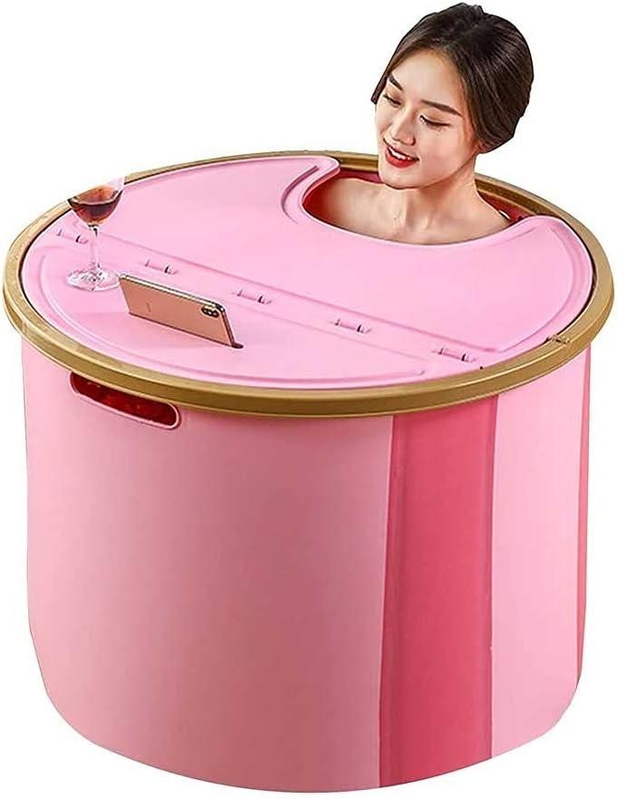 Adesign Bañera portátil, bañera de remojo japonesa para cabina de ducha, bañera plegable con espuma térmica, independiente, plegado y remojo de bañera de hidromasaje para pequeños espacios Fácil de mo