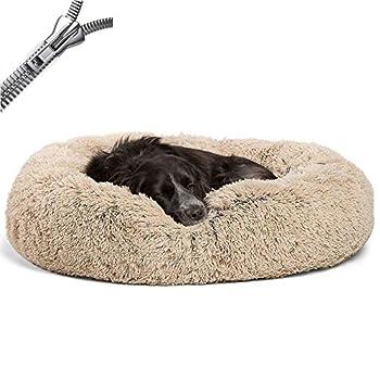 Puppy Love Panier Chien, Coussin Chien Anti Stress XXXL Dehoussable,Paniers Et Mobilier pour Chiens, Lit Moelleux Rond pour Chien, Lavable, ConfortableBrown-100cm