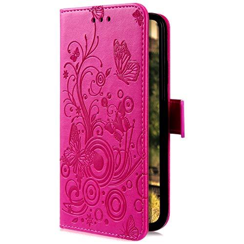 Uposao Compatible avec Huawei Honor 9 Coque en Cuir PU Motif Embossage Papillon Rétro Étui PU Housse Portefeuille à Rabat Magnétique Coque de Protection Fonction Support Porte Cartes,Rose