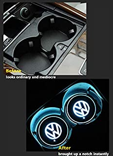 2pcs Colorful Car LED Coaster Lighting USB Charging Light Accessories Interior Decoration Lights Mouldings Trim Lamp for 2018 2017 2016 2015 Volkswagen vw up Scirocco Phaeton amarok eos Jetta Beetle