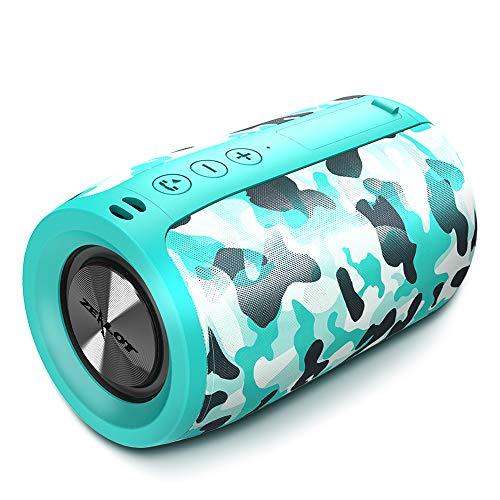 ZEALOT - Mini altoparlante Bluetooth 5.0, senza fili, autonomia 8 ore, vivavoce, supporto AUX&TF, cordino portatile (ciano)