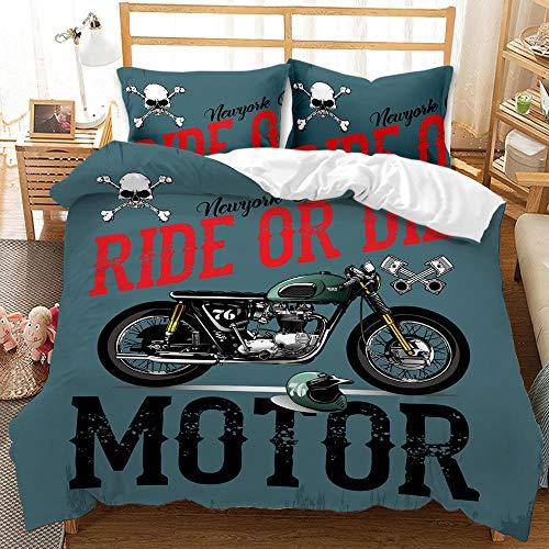 YMYGYR Ropa de Cama con Estampado de Motocicleta Impresa en 3D,Funda nórdica y Funda de Almohada para Decorar el Dormitorio, tamaños para niños y Adultos-mi_230x260cm(3piezas)