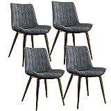 zyy Juego de 4 sillas de cocina de piel sintética con patas de metal, sillas de comedor, sillas de comedor, sillas de comedor, sillas de salón de reuniones (color: gris)