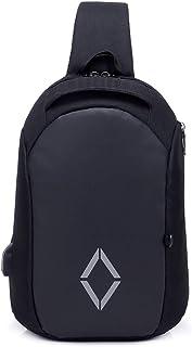 RANRANHOME Vandring resor ryggsäck, stöldskydd, vattentät ryggsäck för bröstet, utomhus sport dagväska, bröstväska med USB...