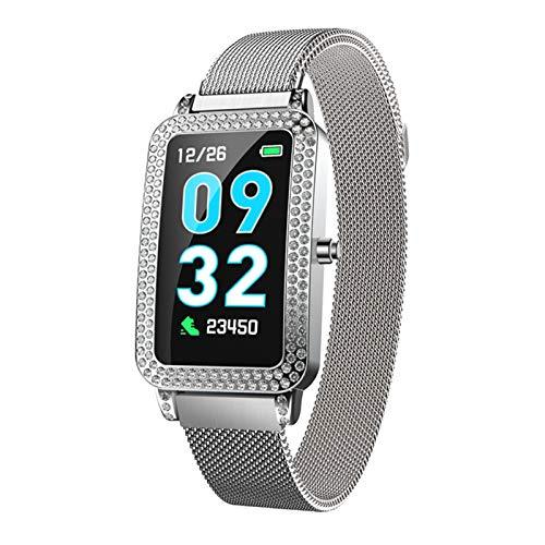 LTLJX Mujer Pulsera de Actividad,Monitores de Actividad,Pantalla Pulsómetro Fitness Tracker, Pulsera Smartwatch con 1.14 Pantalla a Color,con iOS y Android,Plata