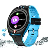 Efolen 4G GPS Smartwatch for Kids, Waterproof 1.28 Inch Touch Screen Kids Smartwatch with Real Time Position WiFi SOS Video Call Message Geofence Pedometer Birthday Gifts for Boys Girls 7-16Y (Blue)