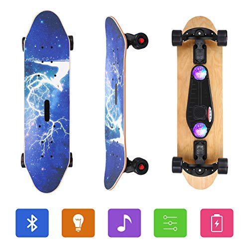 AODI Bluetooth Speaker Skateboard 31#039#039 Complete Skateboards Canadian Maple Cruiser with Colorful Flashing Wheels/Micro SD Card for Kids Boys Girls Youths Beginners Adults