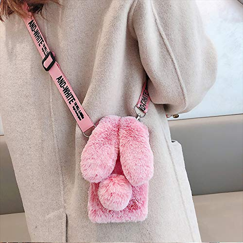 iPhone 6S Plus Rabbit Fur Case with Fluffy Bunny Ears - iPhone 6S Plus Frost Red Furry Fuzzy Phone Case for Woman Girls, Soft Cute Plush Winter Warm Cover with Crossbody Strap