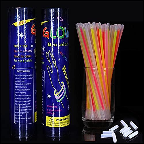 YILING Glow Sticks Party Favors 100pk, 8 Pulgadas Que Brillan En La Oscuridad Light Up Sticks Suministros para Fiestas, Collares Luminosos para Fiestas De Neón Y Pulseras Luminosas con Conectores