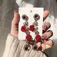 XIAOXUQ 女性のための赤いバラの花ロングドロップピアスシャイニークリスタルウォータードロップ