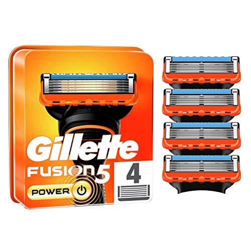 Gillette Fusion 5 Power Cuchillas de Afeitar Hombre, Paquete de 4 Cuchillas de Recambio