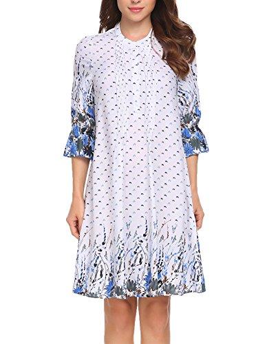 Meaneor Dames elegante lange mouwen avondjurk blousejurk casual jurk bloemen patroon ronde hals katoen knielang