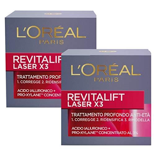 L'Oréal Paris Revitalift Laser X3 Crema Antirughe di Giorno per Viso con Acido Ialuronico e Pro-Xylane, 50 ml, Pacco da 2 Pezzi